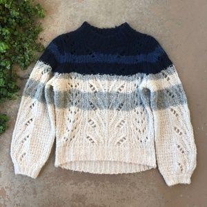 Point Sur J Crew Pointelle Knit Crewneck Sweater